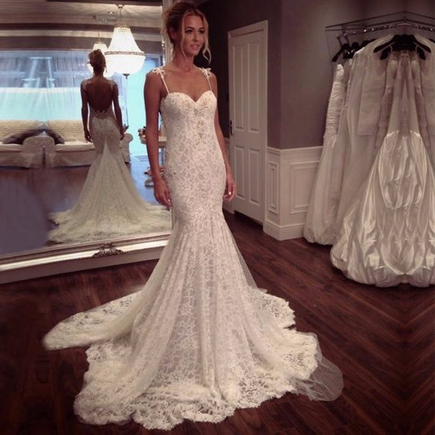 High Quality Off White French Lace Mermaid Wedding Dress