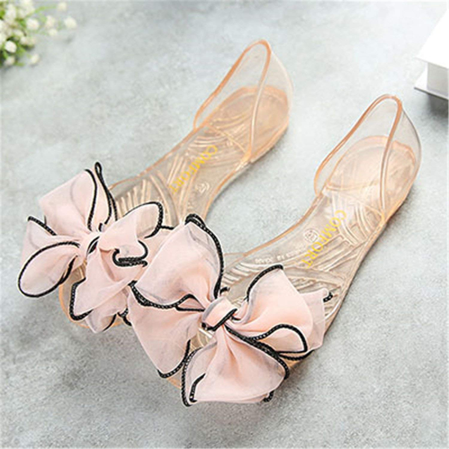 a063542fcdc239 Get Quotations · Women Jelly Sandals New Summer Satin Flower Bow Tie  Fashion Peep Toe Shoes Woman String Bead