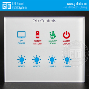 Customized 8 Gang Touch White Tempered Glass Wall Switch for 12-30V DC RS485 Modbus Communication GRMS Solution