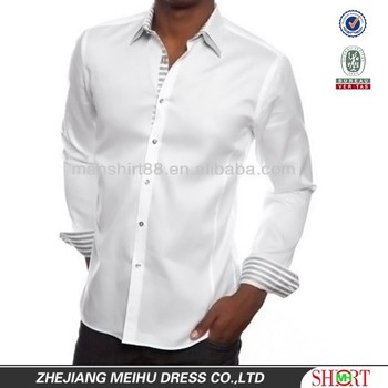 Latest design for men medium high double spread collar for Hidden button down collar shirts