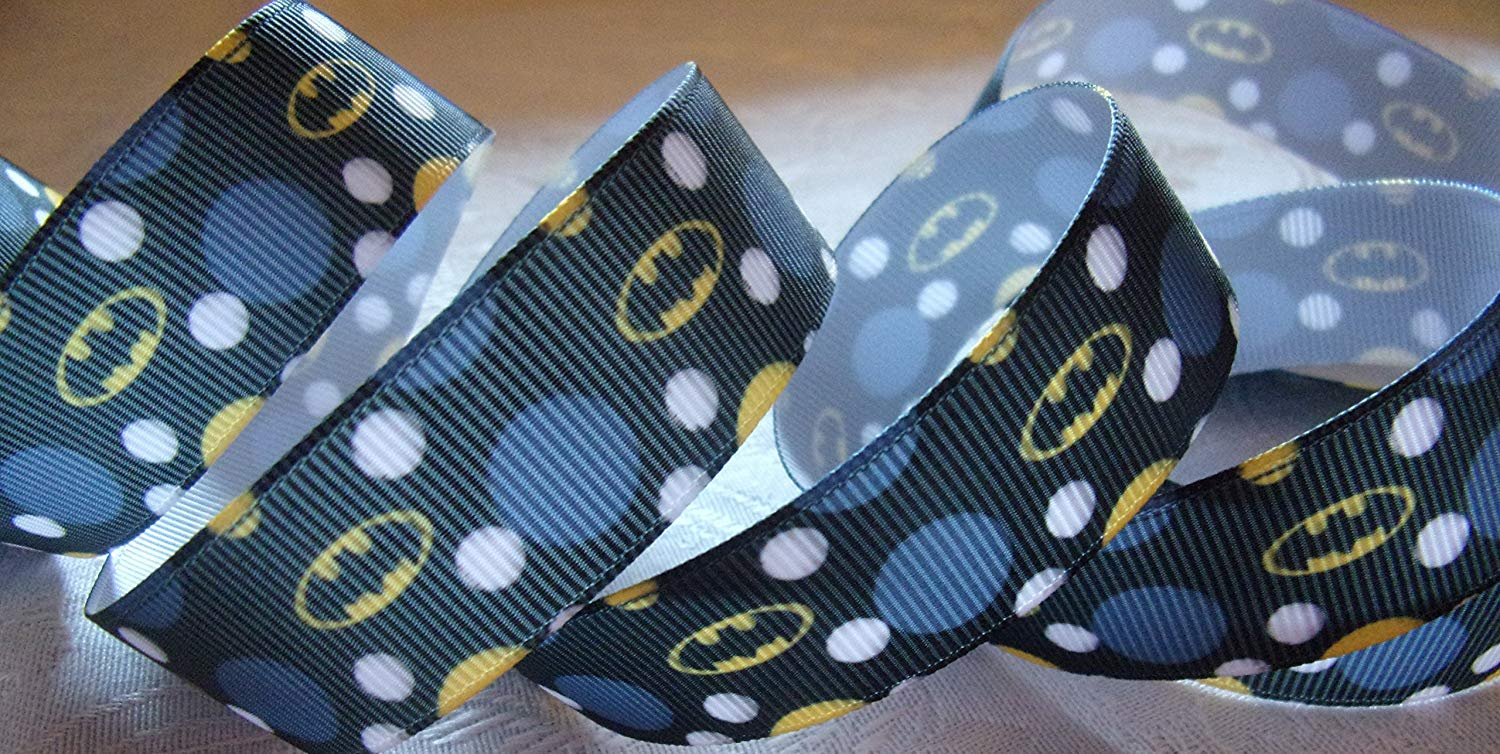 "Grosgrain Ribbon **Batman Polka Dot Print** - 7/8""W - 5 Yards"