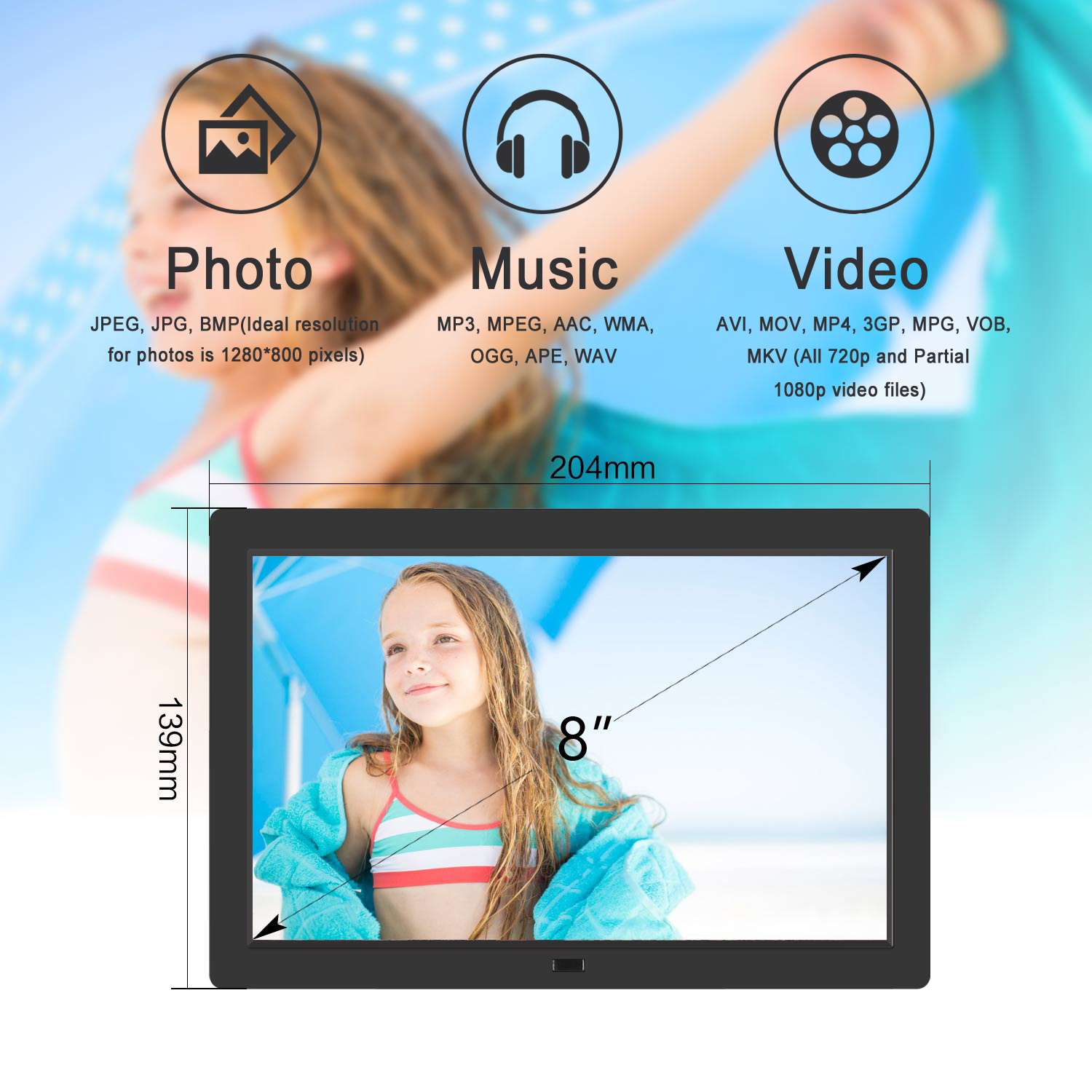 8 inch Digital Photo Frame photo music 1080P Video picture frame Advertising player