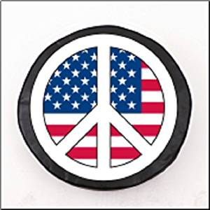 USA Peace Sign College Spare Tire Cover