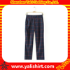 Wholesale fashion lady plaid pants, casual loose fit trousers for women