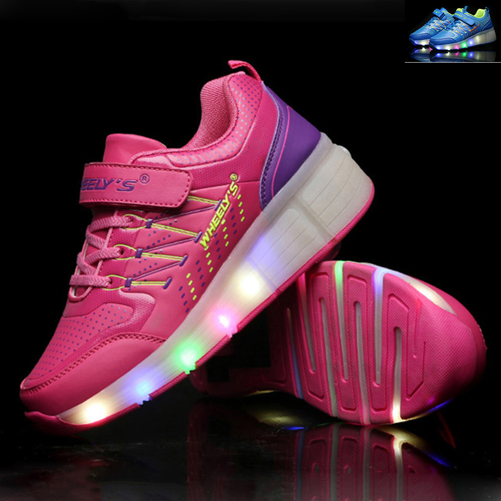 summer Breathable Children Heelys Shoes Kids LED Light up Shoes Girls Boys Roller Shoes with Wheels