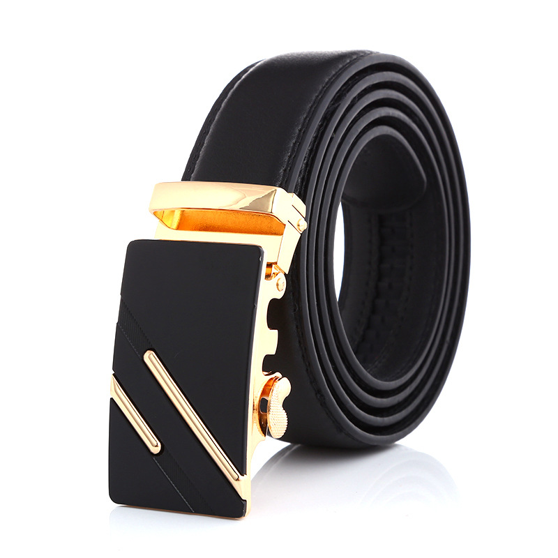 Men Automatic Buckle Designer Belts for Men Genuine Leather Belt Black Waist