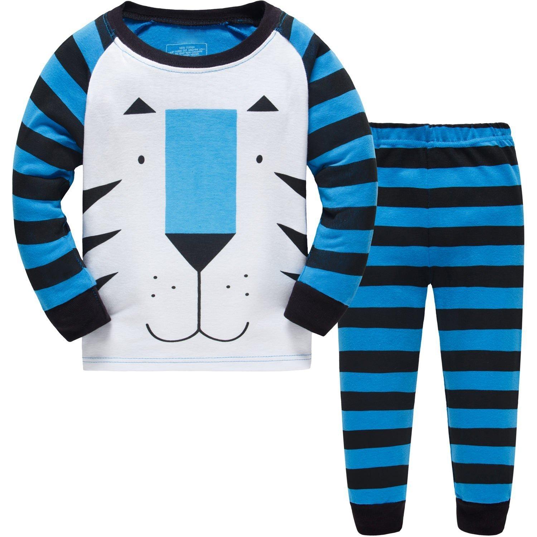 Baby Pyjama Cotton Toddler Boys Kids Tiger Sleepwear Nightwear Pajamas Set 2-7 Years