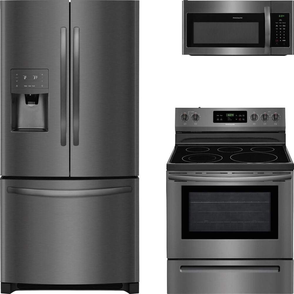 "Frigidaire 3-Piece Black Stainless Steel Kitchen with FFHB2750TD 36"" French Door Refrigerator, FFEF3054TD 30"" Freestanding Electric Range, and FFMV1645TD 30"" Over the Range Microwave"