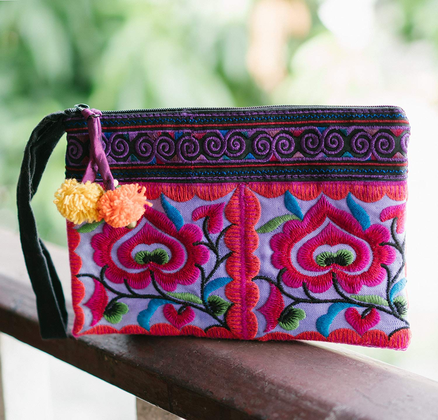 Changnoi Flower Purple Women's Purse with Hmong Hill Tribe Embroidery, Unique Thai Clutch, Ethnic Handbag with Pom Pom, Gift for Her