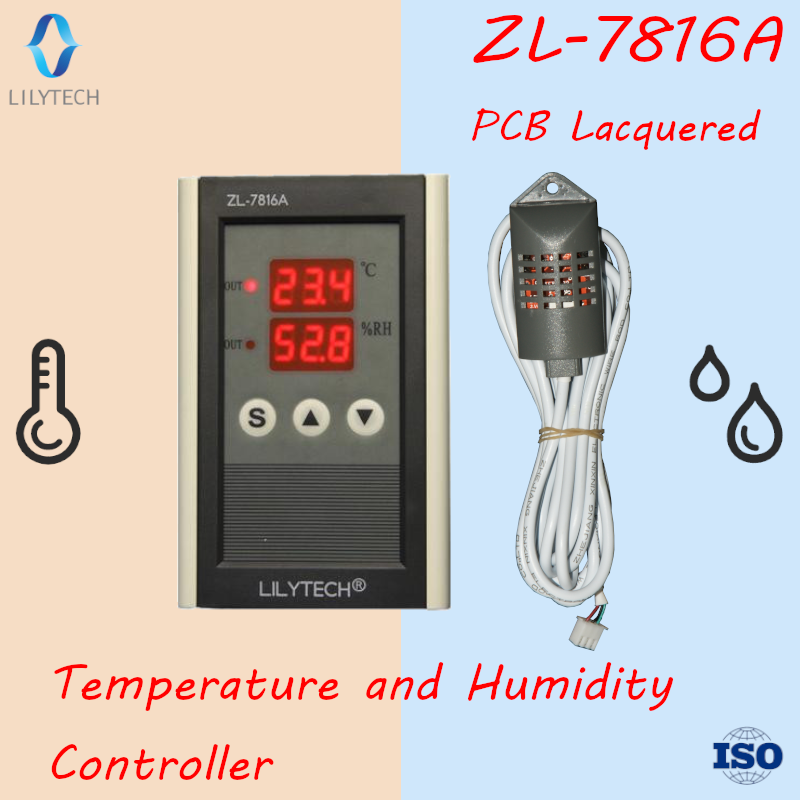 ZL-7816A, 12V, <strong>Temperature</strong> and humidity controller, Thermostat hygrostat, Lilytech, thermo hygrostat