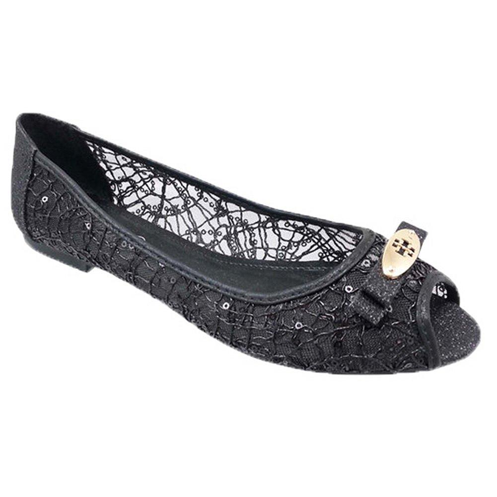 Adrianna Peep Toe Flats BLACK GLITTER WOMEN