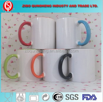 ceramic type sublimation mugs with a glazed rim and handle