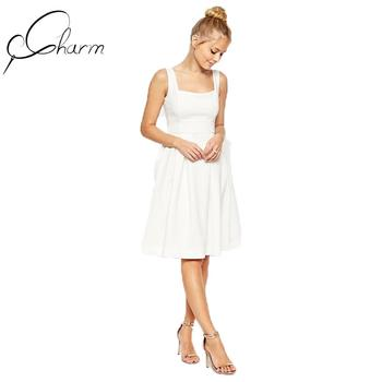 78996e2c0208 Women White Sleeveless Summer Midi Causal Dress - Buy Women White ...
