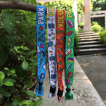 16a483a1603b Promocional personalizado pulsera tejida bordado hecho a mano pulseras de  tela