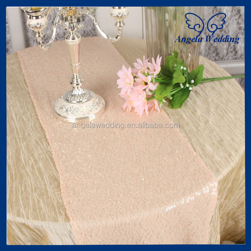 RU009B Hot Sale Angela Weddding Sequence Silver Sequin Table Runner For Round  Tables