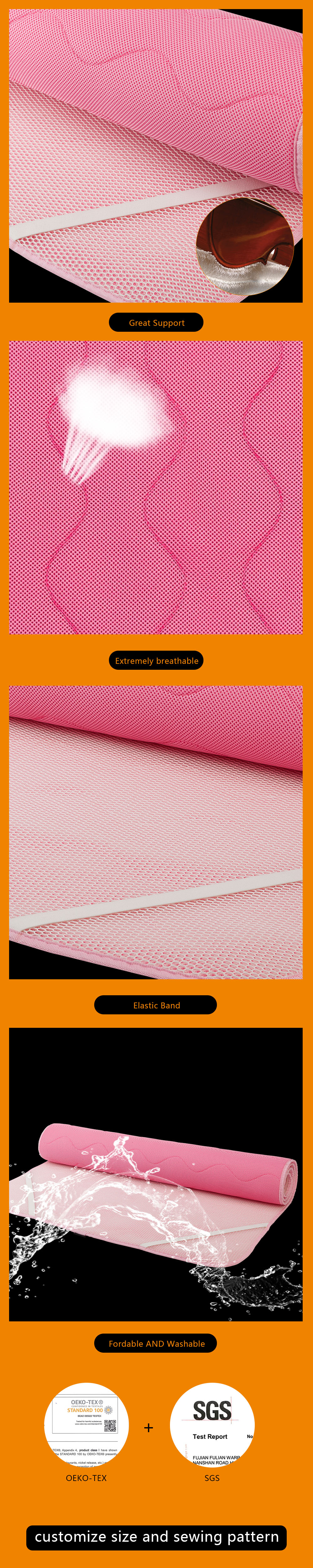 Great support pink washable 3d spacer mesh fabric cooling wholesale washable bed pads,mattress protector
