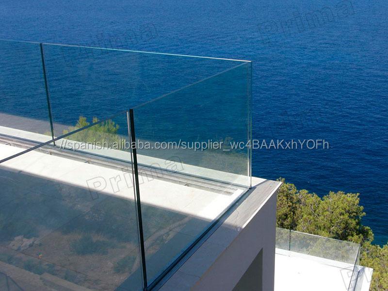 Balcón barandilla de vidrio sin marco Exterior/con barandilla de ...