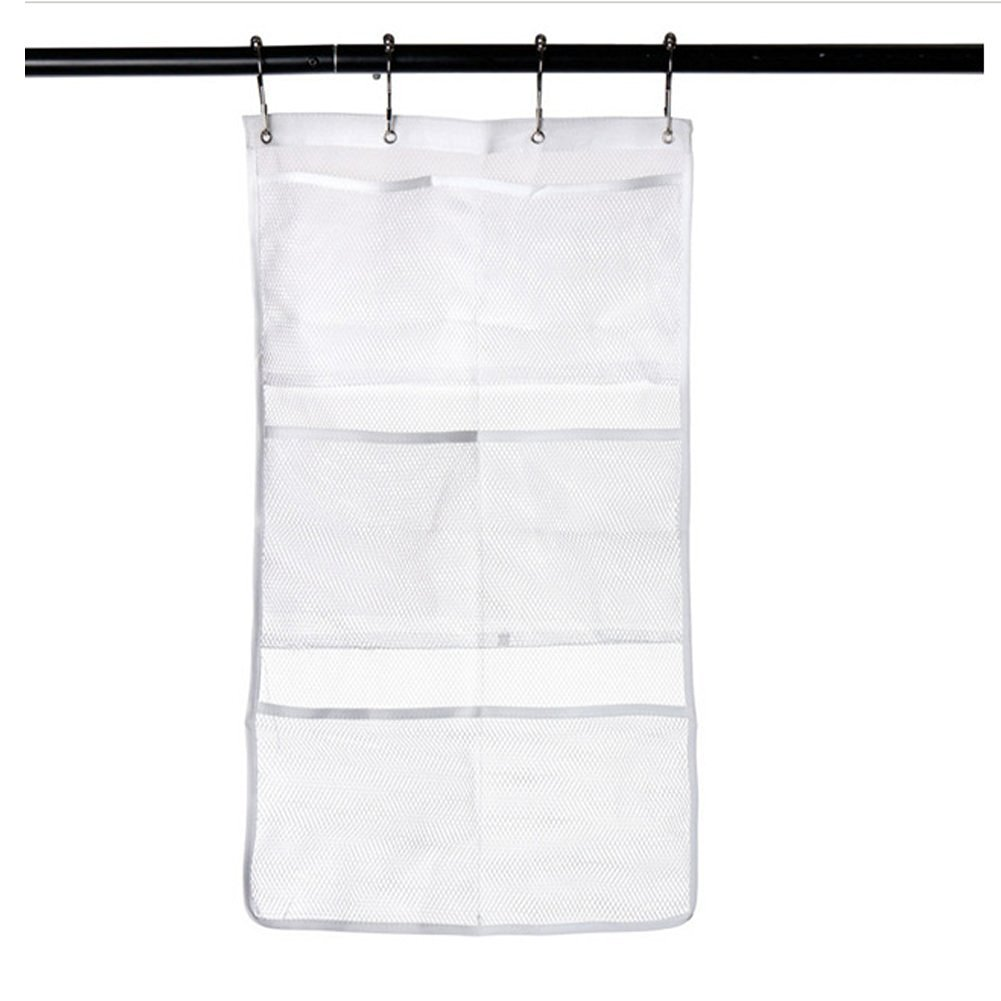 Doupoo Mesh Bath Shower Organizer Caddy Hang On Curtain Rod Liner Hooks