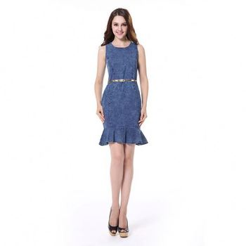 Turquía Con Buy De Denim Product Mezclilla denim Cola On Jeans Corto Vestido vestido Cola 0wkn8OP