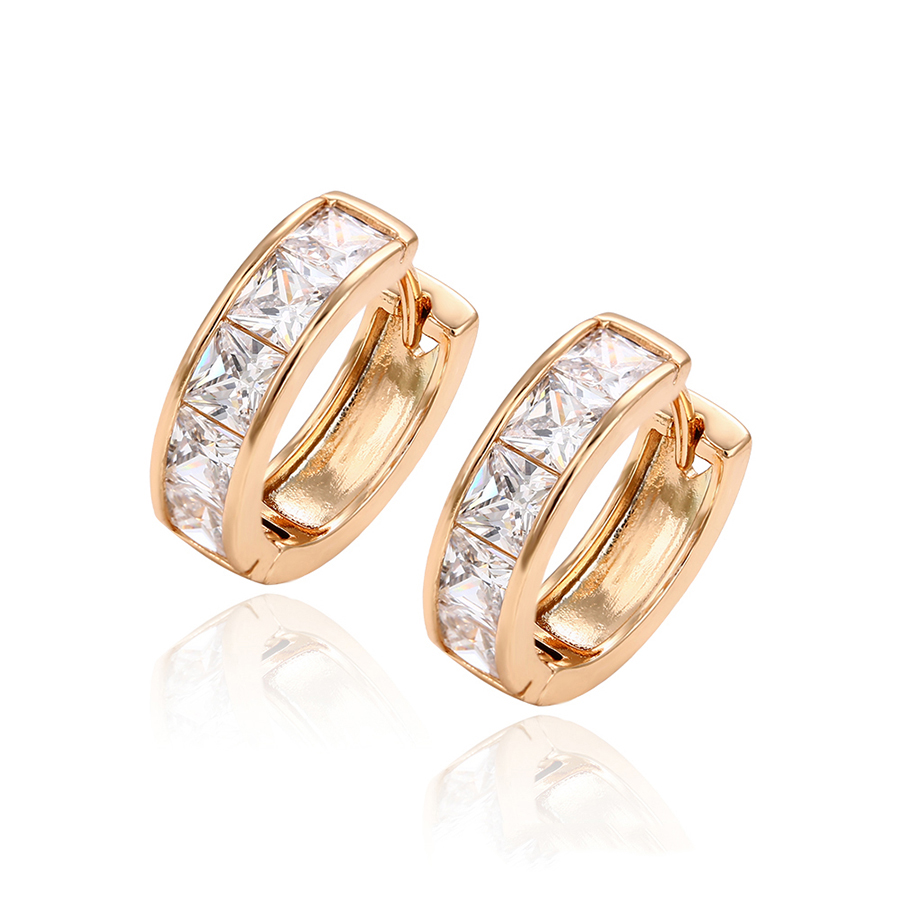 29255 xuping fashion earrings, latest design 18k gold plated jewelry, diamond stone gold hoop earring women