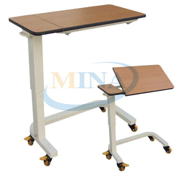 Mobile Wooden Hospital Bedside Tray Table,over Bed Table
