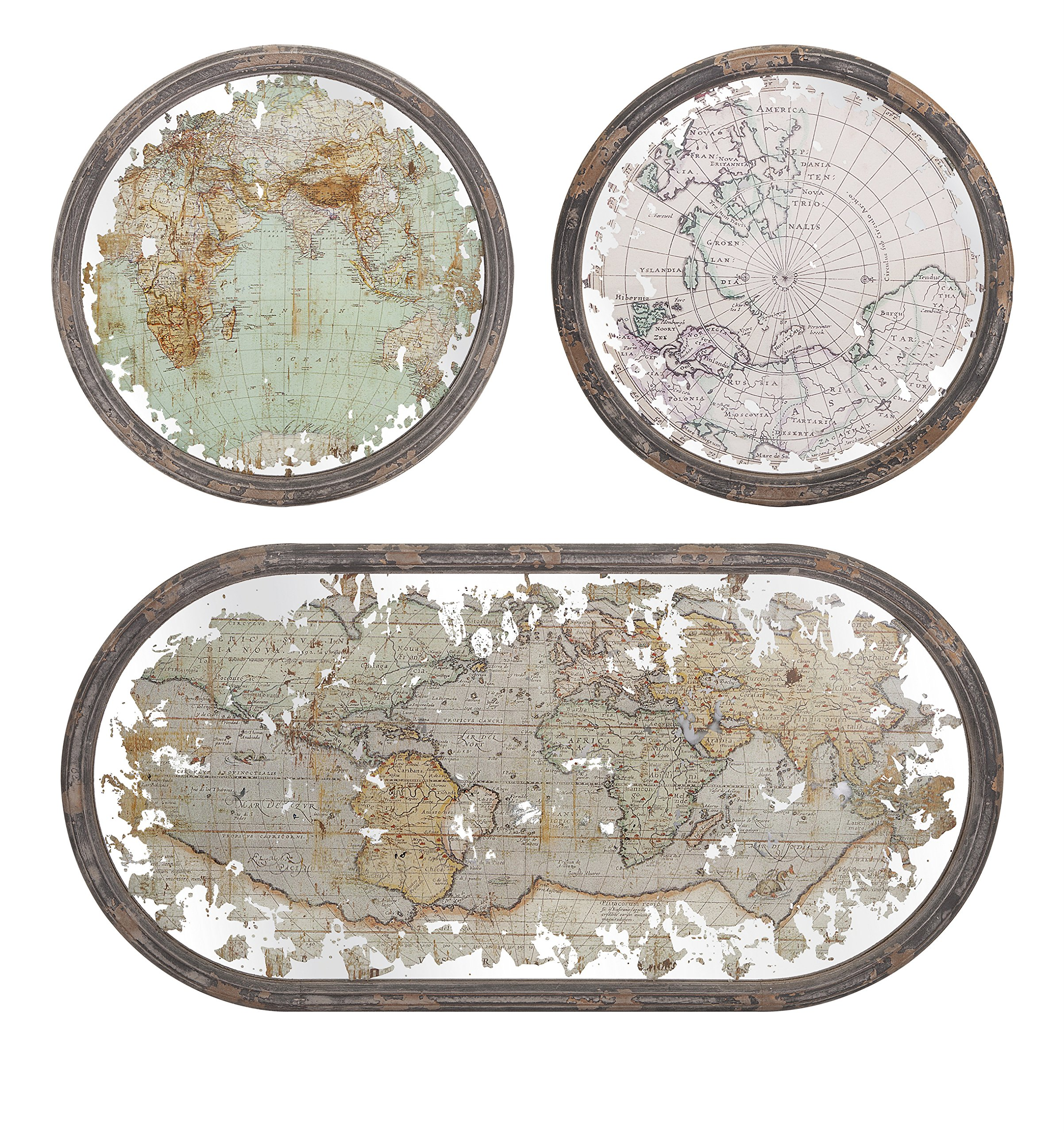 Get Quotations Imax 65249 3 Mirrored Map Wall Decor Set Of