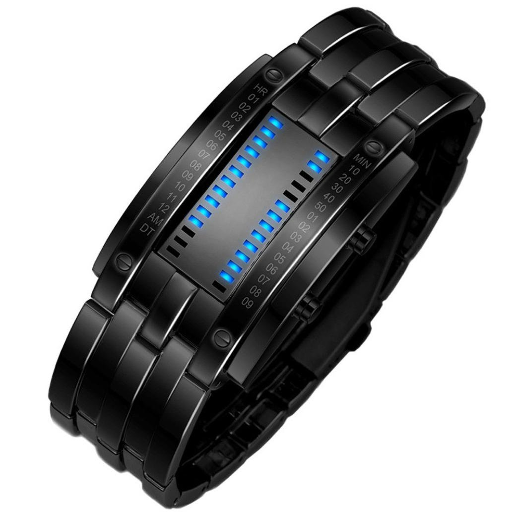 Hemlock Waterproof Men's Digital Military Sport Watches Stainless Steel Bracelet Wrist Watches Black