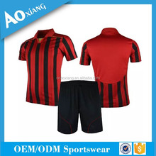 Put your name and number football jersey custom your design red and black striped soocer shirt