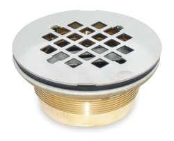 Industrial Grade 1RLV3 Shower Drain, Compression, Brass, SS Grid