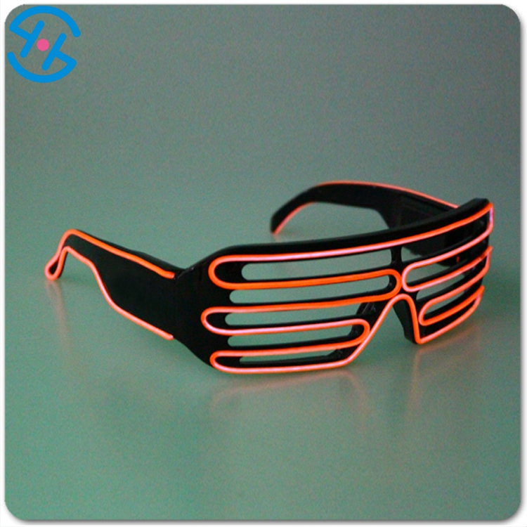 Shutter shade glow up single light sunglasses with charging function EL-wire hotsale decoration sunglasses for party/concert/bar