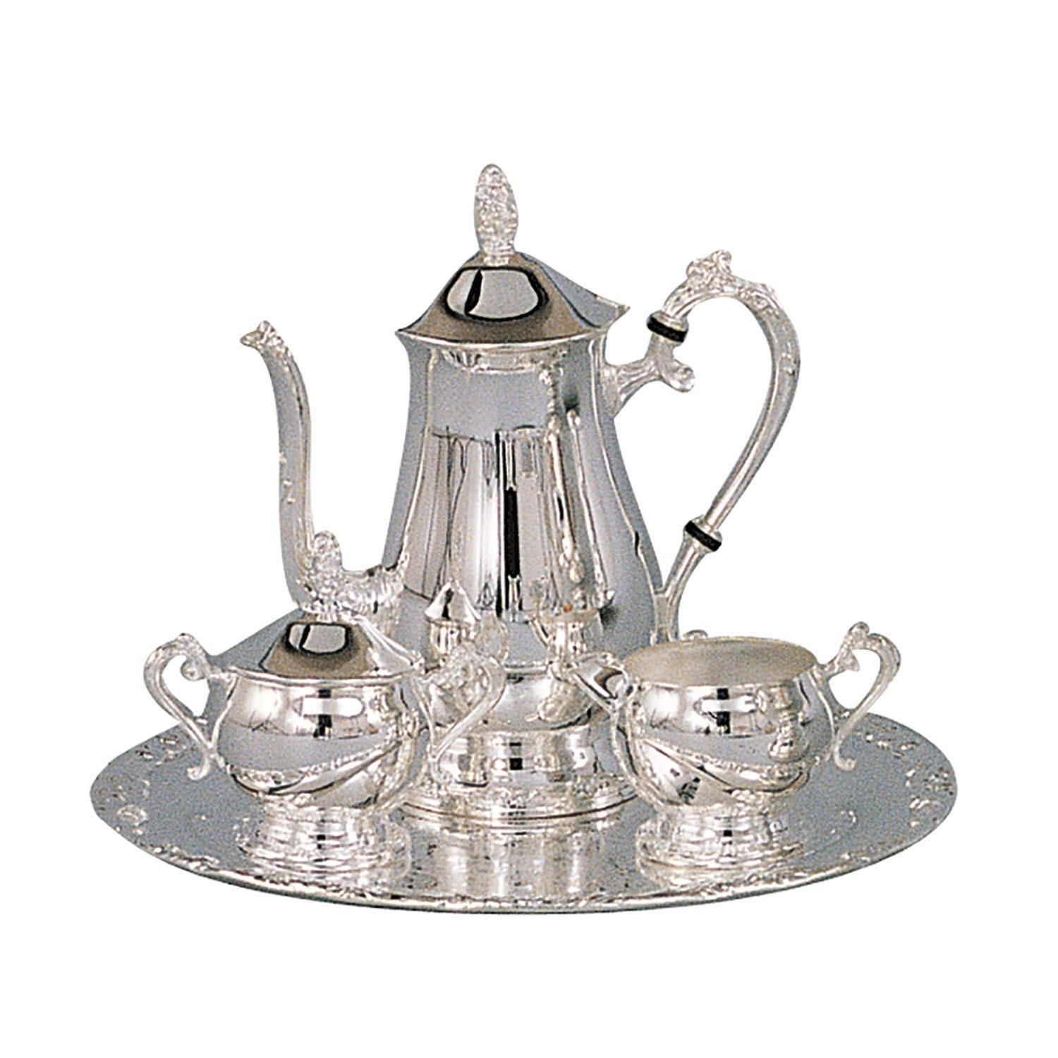 Elegance Silver 89801 Romantica Collection Silver Plated Coffee Set, 4 Piece