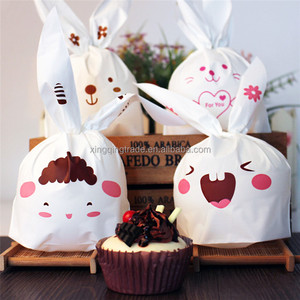 Cute Bunny Cookies Bags Rabbit Ear Plastic Candy Bag Gift Wedding Favors And Gifts Easter Christmas Decoration 20pcs/ bag
