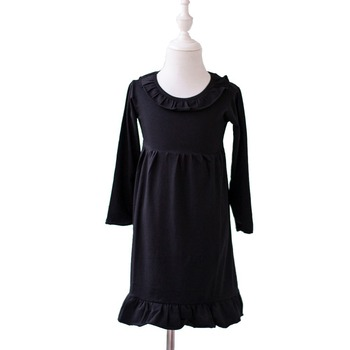 Wholesale Kids Solid Cotton Ruffle On Neck Dress Baby Girl Long