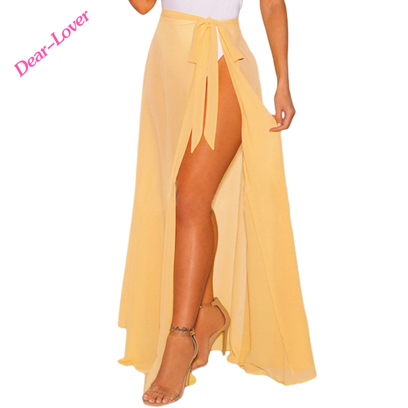 Long Beach Dress Sheer Wrap Maxi Beach Skirt