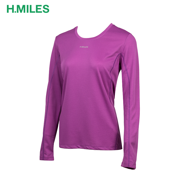 Comfortable ladies polyester sports new pattern t-shirts women long sleeve shirt