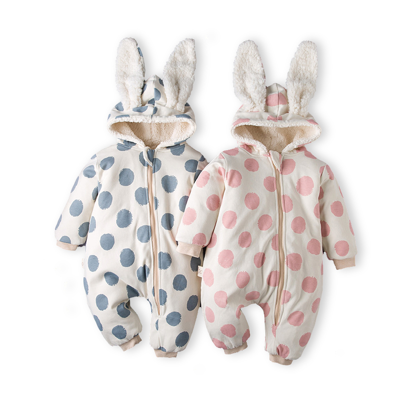 Cute Rabbit Unisex 신생아 Baby 겨울 Jumpsuit Hooded Fleece Romper 와 Soft 베르베르 Fleece Fabric