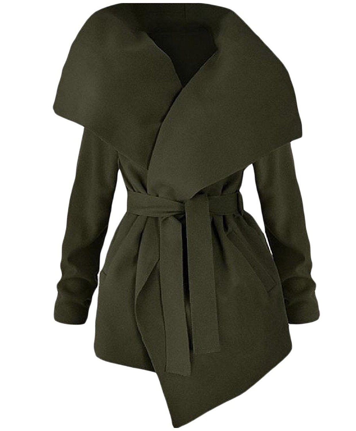 Zimaes-Women Casual Belted Design Fold-Collar Trench Coat Cardigan