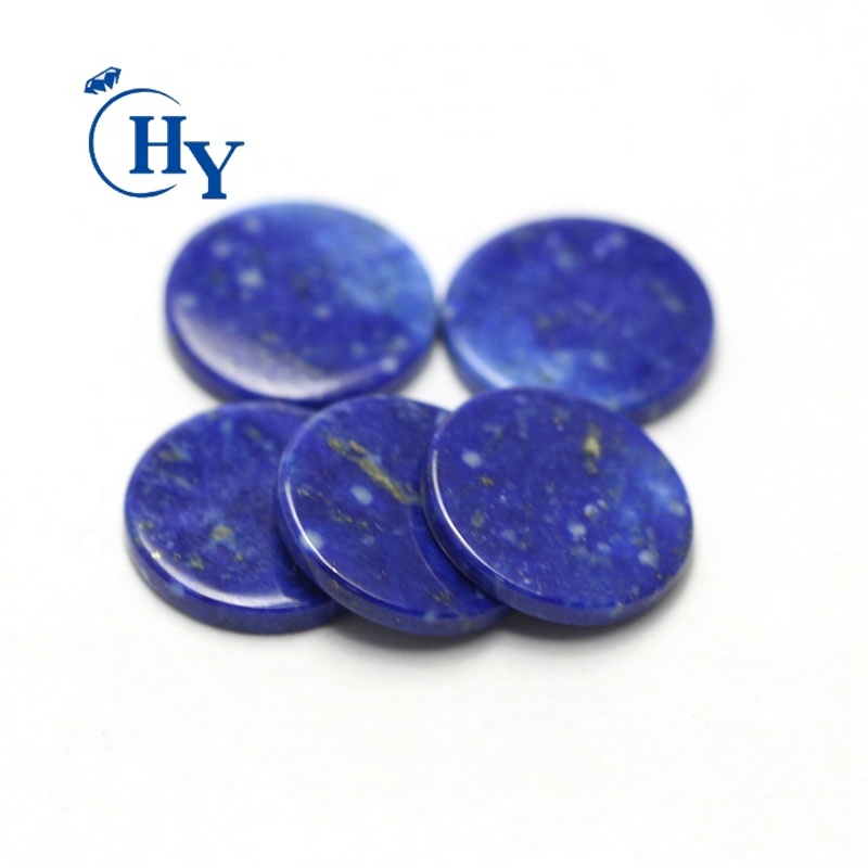Natural lapis lazuli flat Good polished round disc blue loose gemstone
