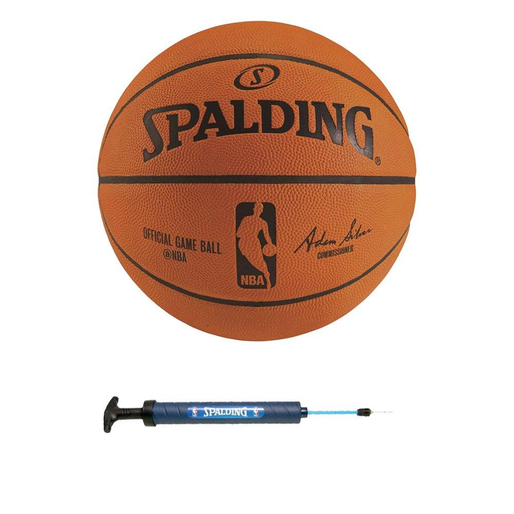 "Spalding NBA Official Game Basketball + Spalding 12"" Dual Action Pump"