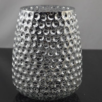 BIG silver plated candelabra hand blown glass candle holder