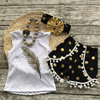 wholesale baby girl clothes children's boutique clothing 3pcs sets with sleeveless Tshirt ,shorts and hair ban