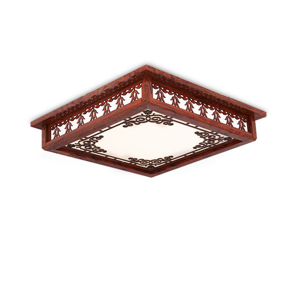 Modern LED Pendant Flush Mount Ceiling Fixtures Light High grade imitation wood Chinese ceiling lamp Classical solid wood ceiling lamp Carved hollow acrylic sheepskin lamp, 530mm