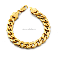 Brand New Trendy 18k Real Gold Plated Stainless Steel Chain Bracelet Gold Plated Vintage Jewellery For Men Fashion Accessory