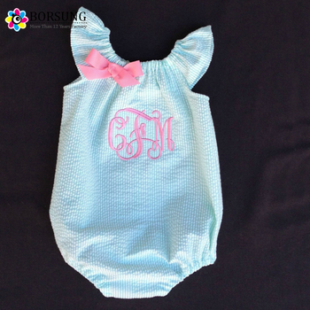 1356864d9c7 Embroidered Kids Baby Custom Overalls Girls Personalized Pink Blue  Seersucker Bubble Romper