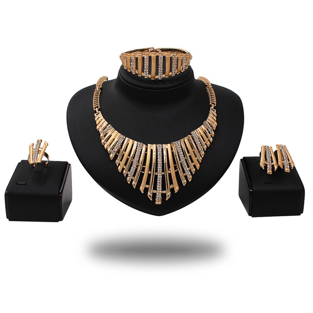 9d46cb1d9 Sinyafashion elegant new designs women crystal jewelry set gold plated  jewelry set
