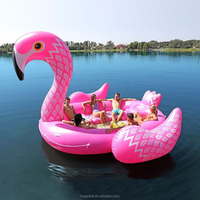 Inflatable water island huge floats fits 6 persons Top fun flamingo party bird island where to buy inflatable pool