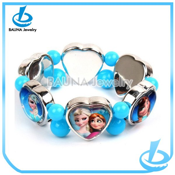 Wholesale blue acrylic ball alloy heart cameo children bracelet