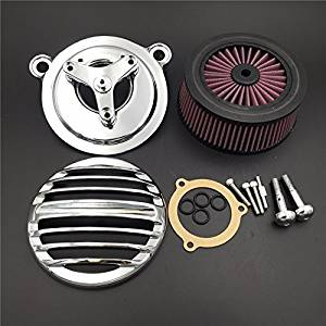 HTT Group Motorcycle Chrome Grille Air Cleaner Intake Filter System Kit For 16-later FXDLS Softail 08-later Touring and Trike Fat Boy CVO Road King Electra Glide Street Glide