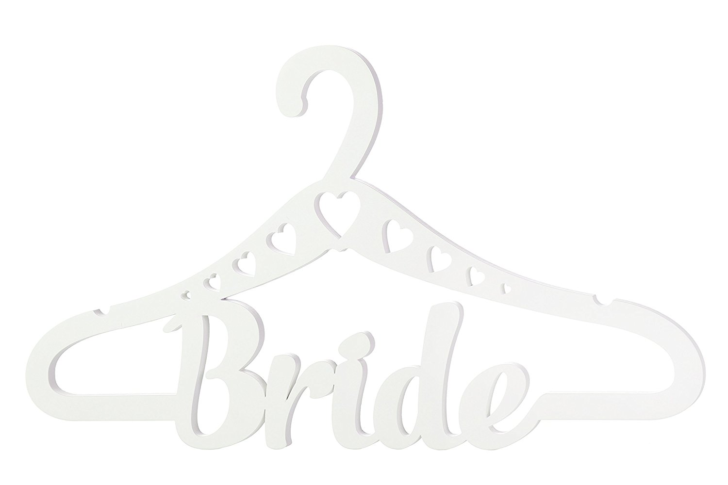 White Wooden Wedding Dress Hanger BRIDE with Hearts for Wedding Day Ceremony, Bridal Shower, Photo Sets