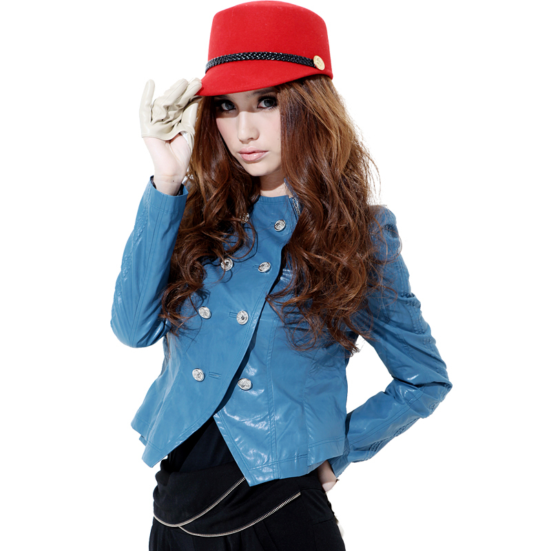 Oman 2013 spring and autumn women's water wash small leather clothing outerwear short design slim stand collar PU jacket